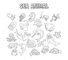 uppsättning element doodle havsdjur. uppsättning havsdjur vektor