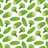 Gemüsemuster mit Zusammensetzung Brokkoli, Gurkenelement. Perfekt für Lebensmittelhintergrund, Tapete, Textil. Vektorillustration vektor