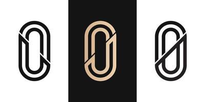 brev initial lo, ol, jo, oj, 0 logo design ikon för företag eller företag med oval form linje brev initial ss logo design ikon för företag med oval form linje. kreativ idé vektormall. vektor