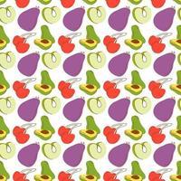 Fruchtmuster mit färbenden Auberginen, Avocados, grünen Äpfeln, Kirschen. nahtloser Retro-Hintergrund mit Obst und Gemüse vektor