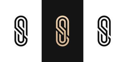 brev initial ss logo design ikon för företag eller företag med oval form linje. kreativ idé vektormall. vektor