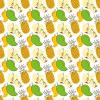 mönster bakgrund med tre färgglada frukter. tropiskt sommar sömlöst mönster med ananas, mango, äpple vektor