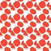 Fruchtmuster mit Farbe Rot, Wassermelone, Tomate, Apfel. Vektor nahtloses Muster der Fruchtvektorillustration