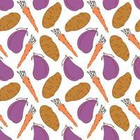 nahtloses Muster mit Karotten-Auberginen-Kartoffel auf einem weißen Hintergrund. Vektorillustration von Zutaten für Lebensmittelhintergrund in einem flachen Gekritzelstil. vektor