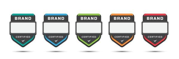 zertifiziertes Logo-Abzeichen für Unternehmensmarke, Spielstufen, Unternehmenslizenz, Schulungskriterien, mit Schildetikettendesign. bunte Symbolvorlage der Vektorillustration. vektor