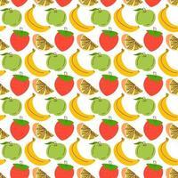 nahtloses Muster mit Fruchthintergrund. nahtloses Muster mit Erdbeer-, Apfel-, Orangen-, Bananenhintergrund. Vektorillustration für Tapeten, Textilien, Stoff, Papier.