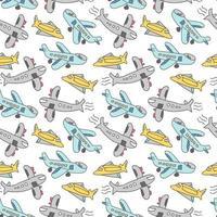 teckning av barn med flygplanselement. söta flygplan sömlösa mönster vektor