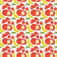 mönster sömlöst med fruktelement vattenmelon, banan, körsbär. frukt sömlösa mönster. vektor platta illustrationer av vattenmelon, tomat, körsbär för webb, tryck och textil