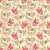 mönster sömlösa barn med söta baby doodle element. söta doodle baby sömlösa mönster vektor