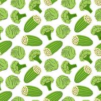 Gemüsemuster mit Gurken-, Brokkoli-, Kohlelementvektorillustration vektor