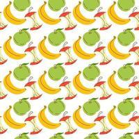 banan och äpple sömlösa mönster. omslagspapper, sömlöst kort, affisch, banner design. heminredning, modernt textiltryck. vektor illustration. handritning. vit bakgrund