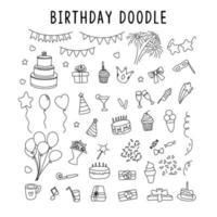 uppsättning element doodle dekorationer för födelsedag. vektor uppsättning element för födelsedag och fest doodles