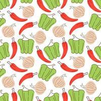 Gemüsemuster mit Zusammensetzung Paprika, Chilis, Knoblauchelement. Perfekt für Lebensmittelhintergrund, Tapete, Textil. Vektorillustration vektor