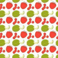 fruktmönster med färgläggning av melon, jordgubbar och körsbär. sömlösa mönster med vattenmeloner och jordgubbar. vektor