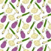 nahtloses Muster mit Auberginen, Knoblauch, Zitronengras auf weißem Hintergrund. Vektorillustration von Zutaten für Lebensmittelhintergrund in einem flachen Gekritzelstil. vektor