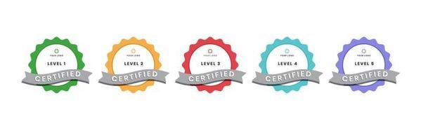 digitales Zertifizierungslogo für Training, Wettbewerb, Belohnungen, Standards und Kriterien usw. zertifiziertes Abzeichensymbol mit Bandvektorillustration. vektor