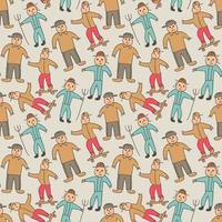 mönster sömlösa barn med pojke doodle element. sömlös ung pojke mönster vektor