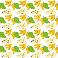 nahtlose Geschenkpapier Bananen-, Apfel-, Mangofruchtelemente. Frucht nahtloser Mustervektor vektor