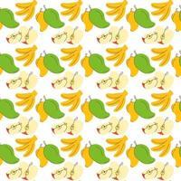 sömlös omslagspapper banan, äpple, mango fruktelement. frukt sömlös mönster vektor