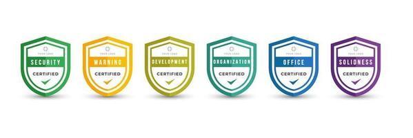 zertifiziertes Logo-Abzeichen-Schild-Design für Firmen-Schulungsabzeichen-Zertifikate zur Bestimmung anhand von Kriterien. Set-Bundle-Zertifikat mit bunter Sicherheitsvektorillustration. vektor