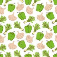 nahtloses Muster mit Knoblauch, Paprika, Zitronengras auf einem weißen Hintergrund. Vektorillustration von Zutaten für Lebensmittelhintergrund in einem flachen Gekritzelstil. vektor