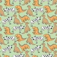 mönster sömlösa barn med dino doodle element. handritade dinosaurier och tropiska löv. söta roliga tecknade dino sömlösa mönster. handritad vektor konsistens för barn design. vektor illustration