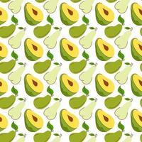 nahtloses Geschenkpapier mit Avocado-, Mango- und Birnenelementen. nahtloses Muster mit kreativen modernen Früchten. Hand gezeichneter trendiger Hintergrund. ideal für Stoffe und Textilien. Vektorillustration vektor