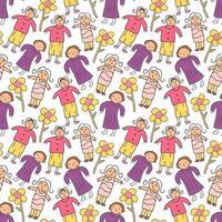 nahtlose niedliche niedliche entzückende Mädchen der Weinlese mit Pastellwildblume und romantischer Blattvektorhintergrundillustration von Hand zeichnen Gekritzelkarikatur-Comicstil