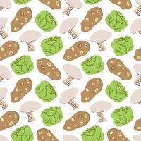 Gemüsemuster mit Zusammensetzung Kartoffel, Senfgrün, Pilzelement. Perfekt für Lebensmittelhintergrund, Tapete, Textil. Vektorillustration vektor