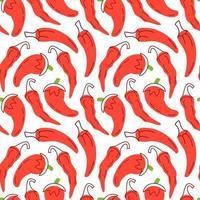 röd chili sömlösa mönster med på en vit bakgrund. vektor illustration av ingredienser för mat bakgrund i en platt doodle stil.