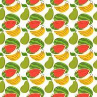 Musterhintergrund mit Fruchtelementen, Wassermelone, Banane, Mango. nahtloses Muster mit frischen Bio-Früchten. Das Muster kann ohne sichtbare Nähte wiederholt oder gekachelt werden vektor