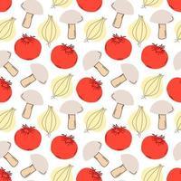 nahtloses Mustergemüse mit Elementen von Pilzen, Tomaten, Knoblauch. Vektorillustration vektor