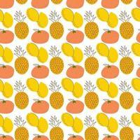 fruktmönster med färgläggning, citroner, ananas, apelsin. tecknad färsk frukt i platt stil. jordgubbe, banan, äpple, ananas, körsbär, citron. sömlösa mönster. vektor