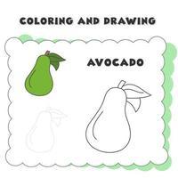 målarbok och ritning bokelement avokado. målarbok. ritad för hand vektor