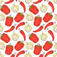 nahtloses Muster mit Knoblauch, Chilischoten, Paprika auf weißem Hintergrund. Vektorillustration von Zutaten für Lebensmittelhintergrund in einem flachen Gekritzelstil. vektor
