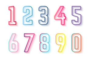 färgglada kontur nummer samling 0 till 9 vektor