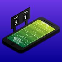 Isometrisches Fußball-on-line-Konzept mit Fußballplatz und Indikator-Brett auf Smartphone vektor