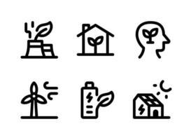 einfacher Satz von ökologiebezogenen Vektorliniensymbolen. Enthält Symbole wie Green Factory, Eco Home, Think Green, Windkraftanlage und mehr. vektor