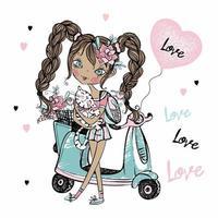 Ein süßes junges Mädchen mit einer Katze im Arm steht in der Nähe ihres Rollers mit Luftballonherzen. Valentinskarte. Vektor. vektor