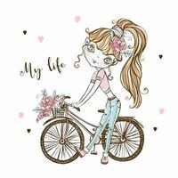 ein süßes modisches junges Mädchen mit einem Fahrrad. mein Leben. Vektor. vektor