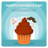 Flacher glücklicher Vatertag Greetings Vector