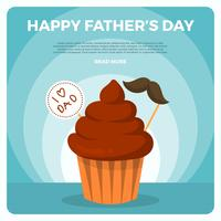 Flat Happy Father's Day Hälsningar Vector
