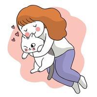kvinna kramar katt, hand rita tecknad söt vektor. vektor