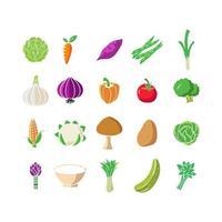 vegetabilisk ikonuppsättning designmallvektor