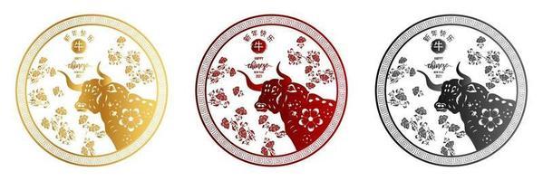 Chinesische traditionelle Schablone des chinesischen glücklichen neuen Jahres mit goldenem Ochsenmuster lokalisiert auf weißem Hintergrund als Jahr des Ochsen-, Glücks- und Unendlichkeitskonzepts. vektor
