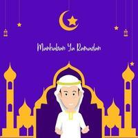 ramadan start banner mall. vektorillustration av en man som lyfter handen för att välkomna den kommande månaden av ramadan.