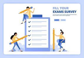 Personen, die Bewerbungsumfragen oder Abschlussprüfungen ausfüllen. Benutzer geben Feedback mit Umfrage. Entwickelt für Landing Page, Banner, Website, Web, Poster, mobile Apps, Homepage, Flyer, Broschüre vektor