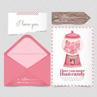 Vektor-Süßigkeits-Karte und Umschlag