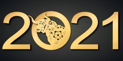Chinesische traditionelle Schablone des chinesischen glücklichen neuen Jahres mit Ochsenmuster lokalisiert auf schwarzem Hintergrund als Jahr des Ochsen-, Glücks- und Unendlichkeitskonzepts. vektor