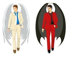 Karikatur eines Engels und eines Teufels, der Anzug trägt vektor